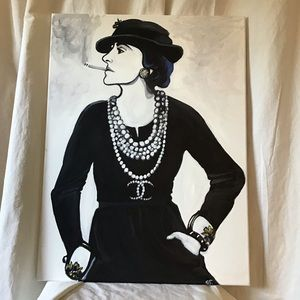 Coco Chanel Wall Art Iconic Pearl & cuffs Portrait